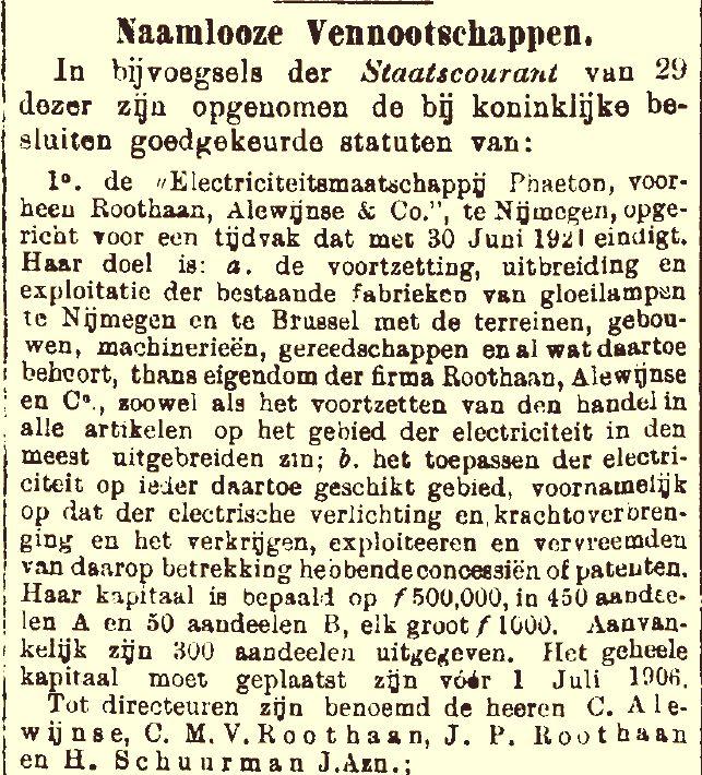 Oprichting Phaeton 1896