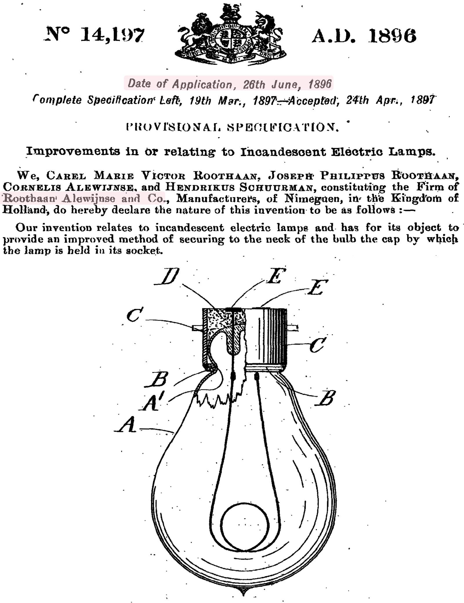 Patent Roothaan, Alewijnse en Co uit 1896
