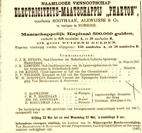 Aandelen uitgifte NV Phaeton (20-05-1896)