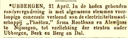 Concessie verleend t.b.v. elektrische centrale Beek-Ubbergen (25-04-1897)