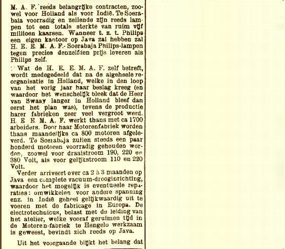 Artikel  Nederlandsch-Indië met o.a. de eisen die aan transformatoren werden  gesteld in de tropen (22-06-1920)