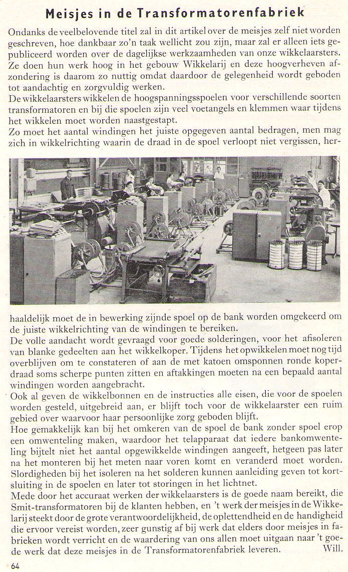 Meisjes in de transformatorenfabriek april 1958